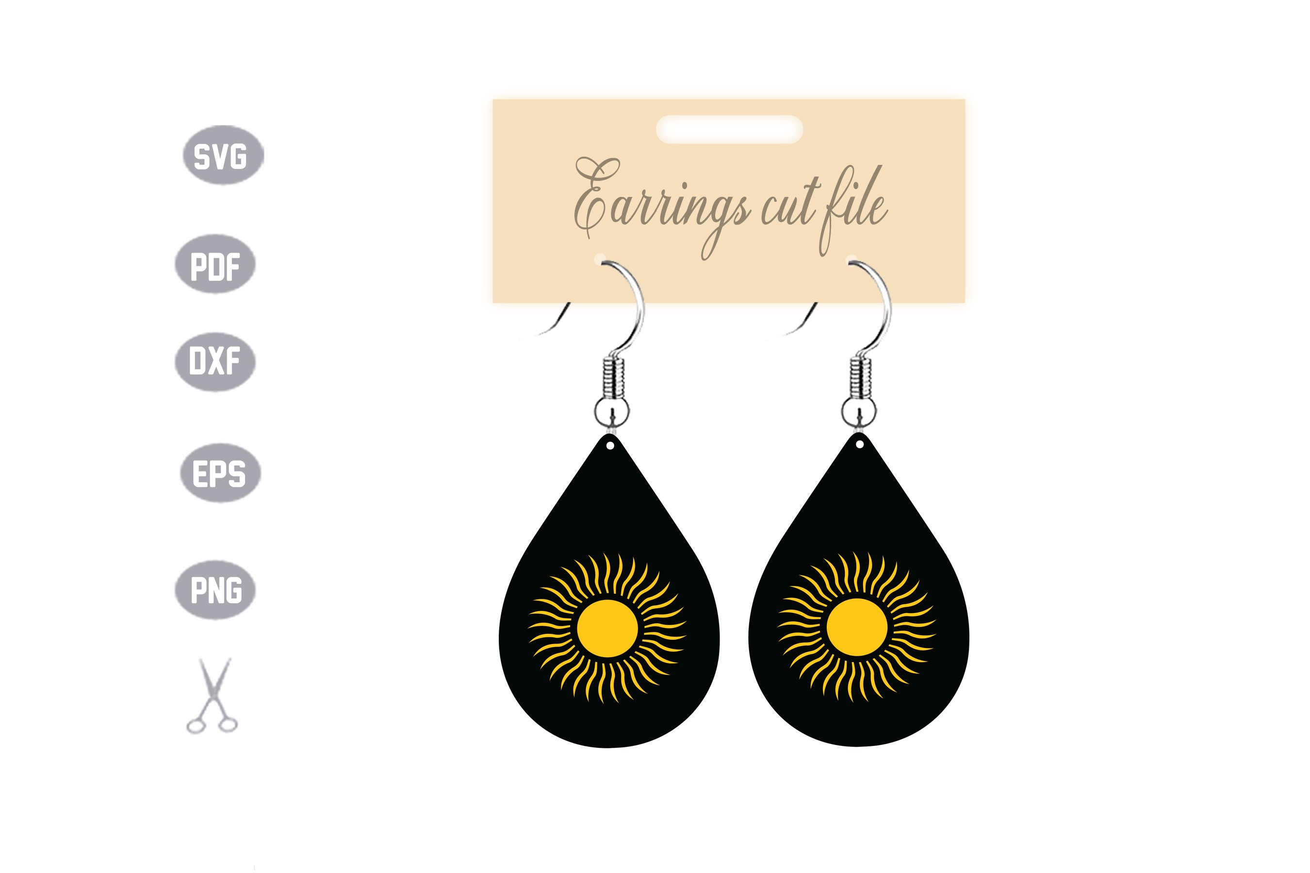 Sun Earrings Template SVG example image 1