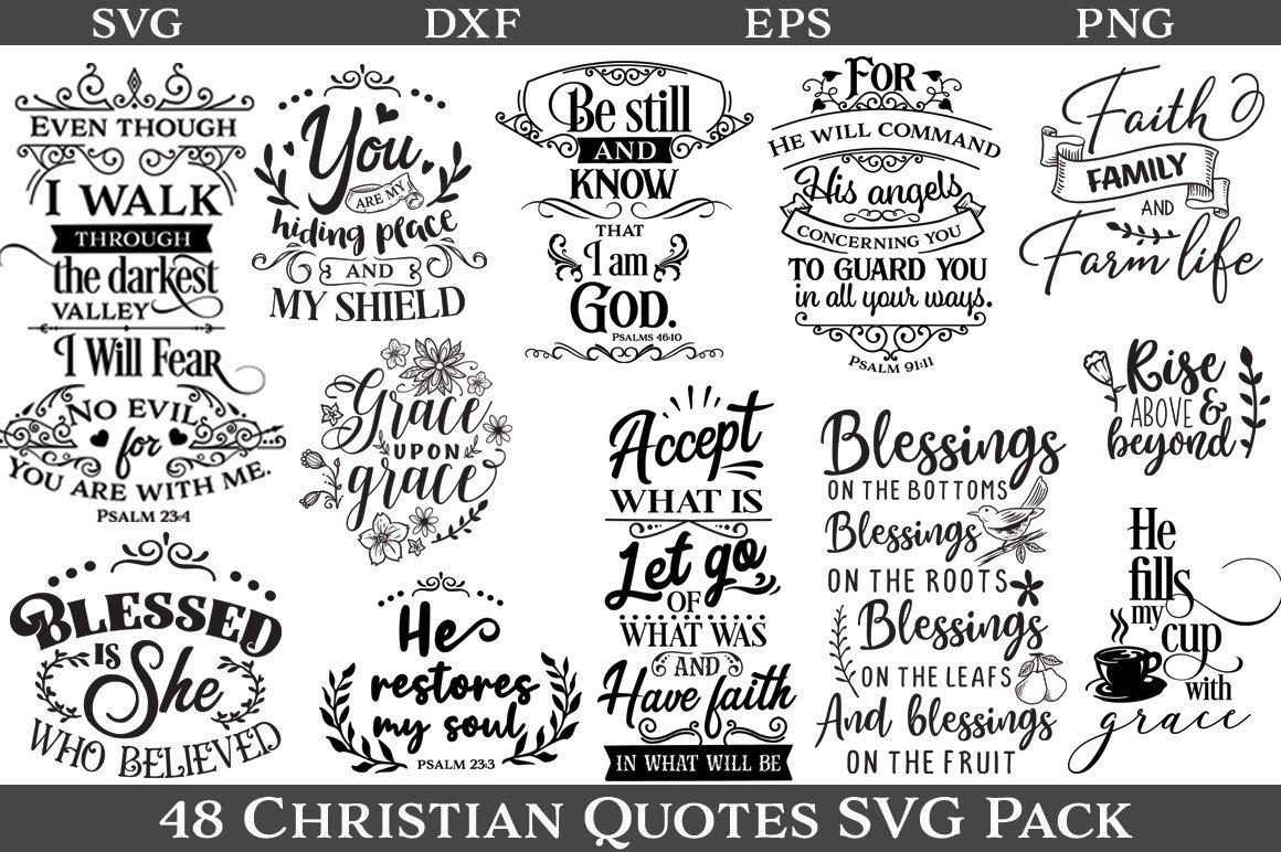 Download 48 Christian Quotes Svg Pack 174109 Cut Files Design Bundles