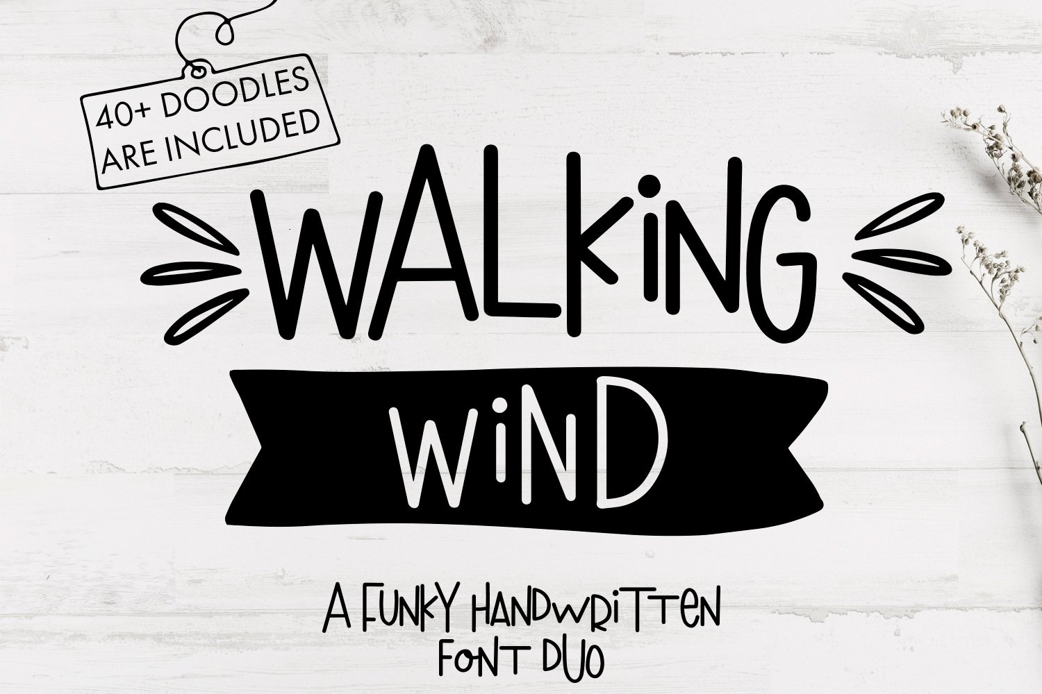 Walking Wind - A funky handwritten font duo with doodles example image 1