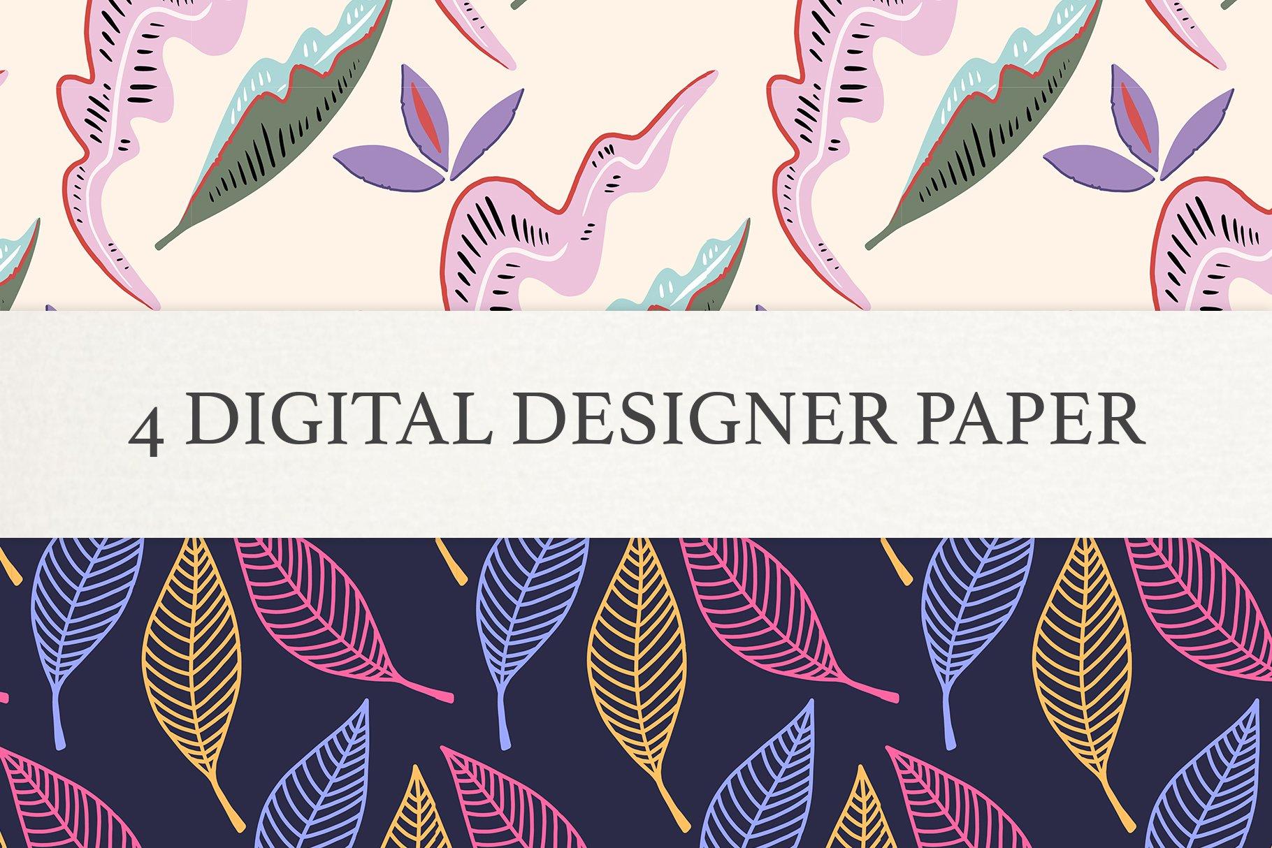 Floral leaf Digital Papers, Scrapbook Paper Set, Seamless example image 4