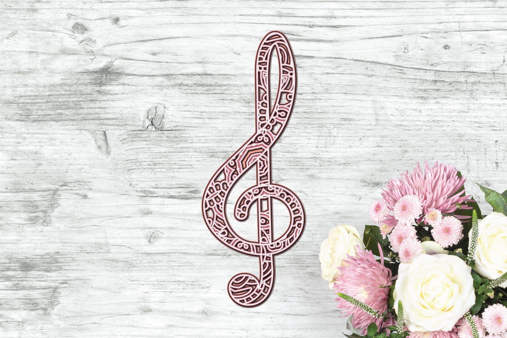 3d Layered Treble Clef SVG | Multi Layer Music SVG Cut File example image 6