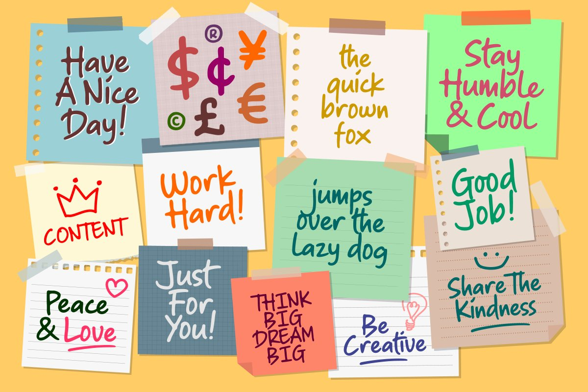 Sticky Notes - Marker Font example image 2