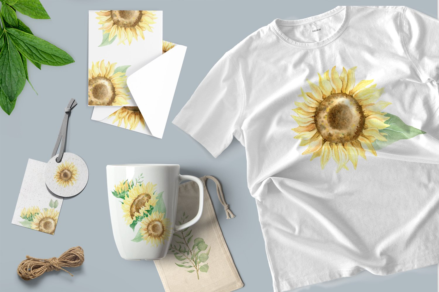 Watercolor sunflower. Rustic yellow flowers clip art. example image 2