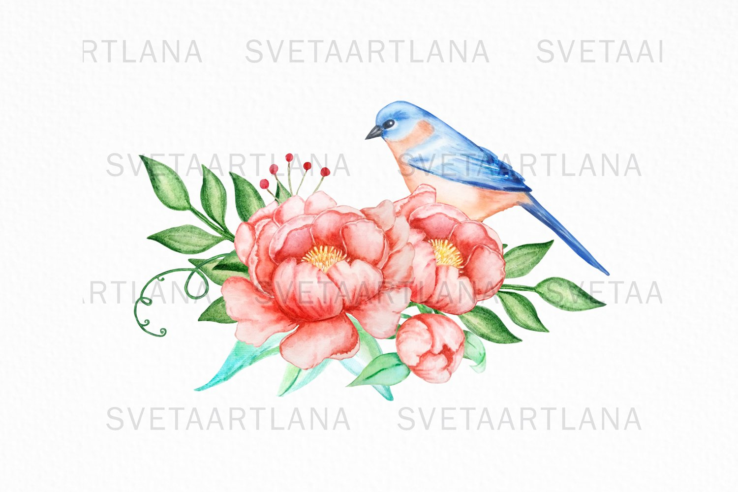 Bird and Flowers Peony Watercolor Clipart example image 5