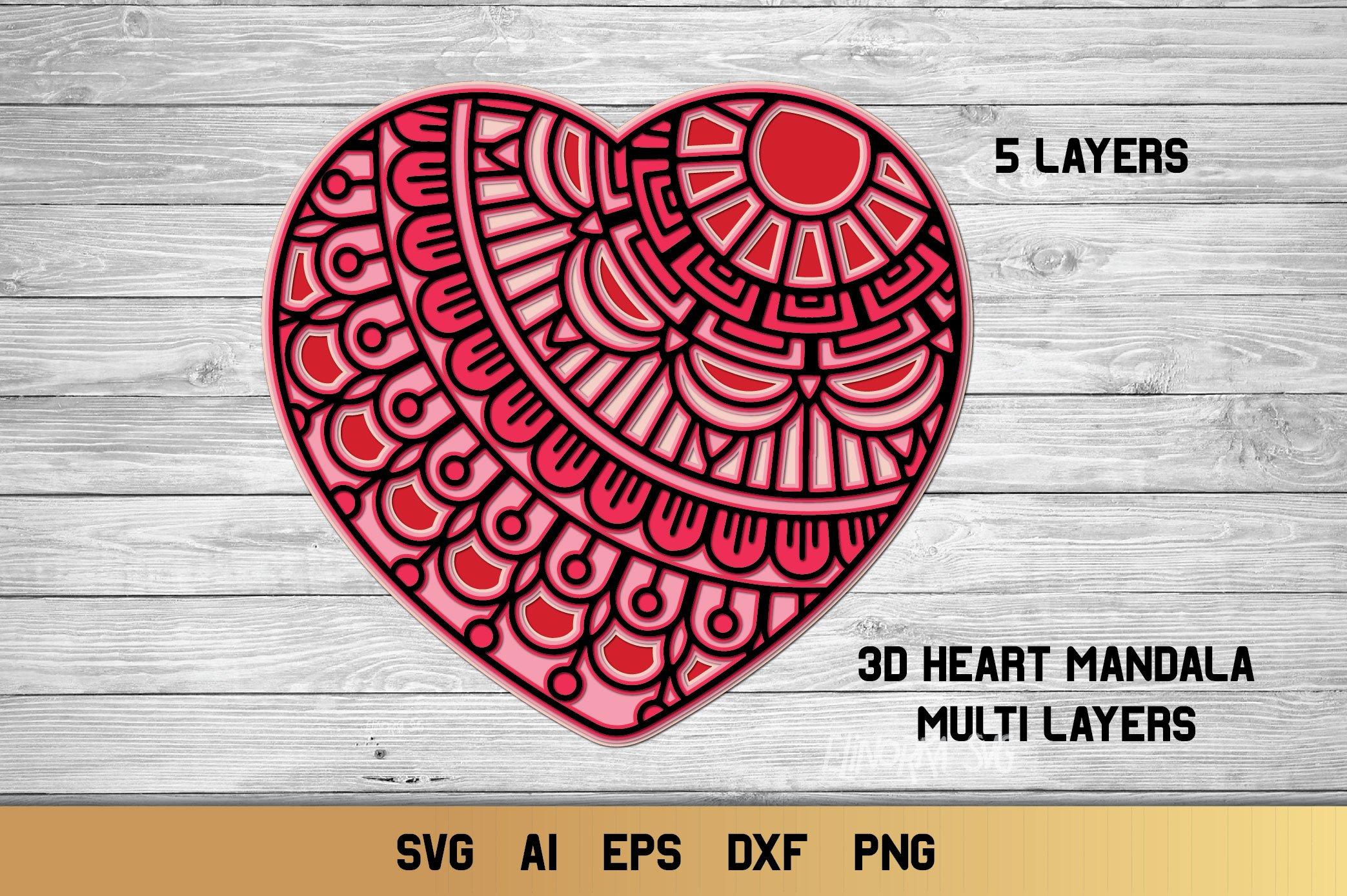 Download 3d Layered Heart Mandala| Multi Layer Heart SVG Cut File ...