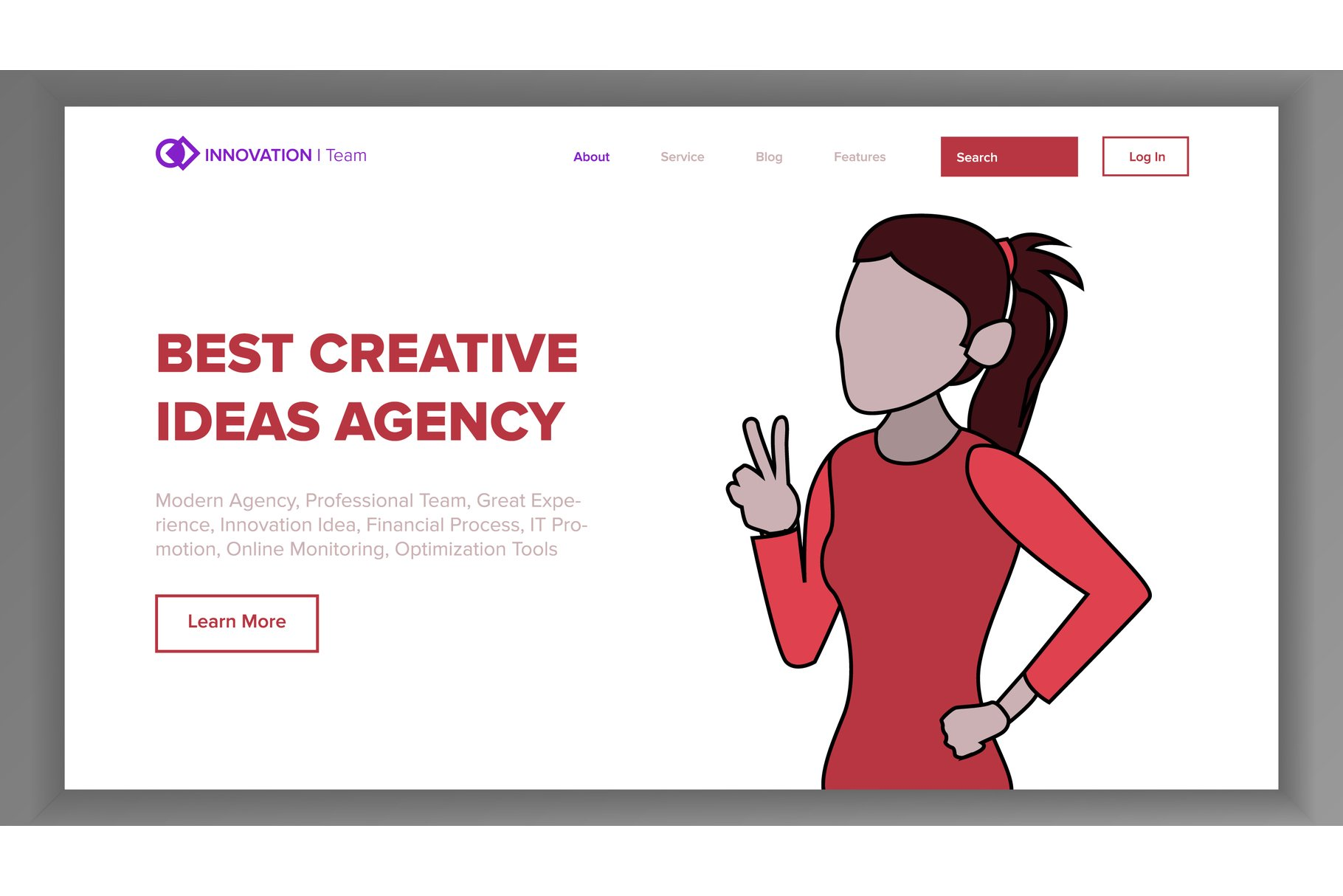 Modern Landing Page Concept Vector. Line Woman. Main Website example image 1