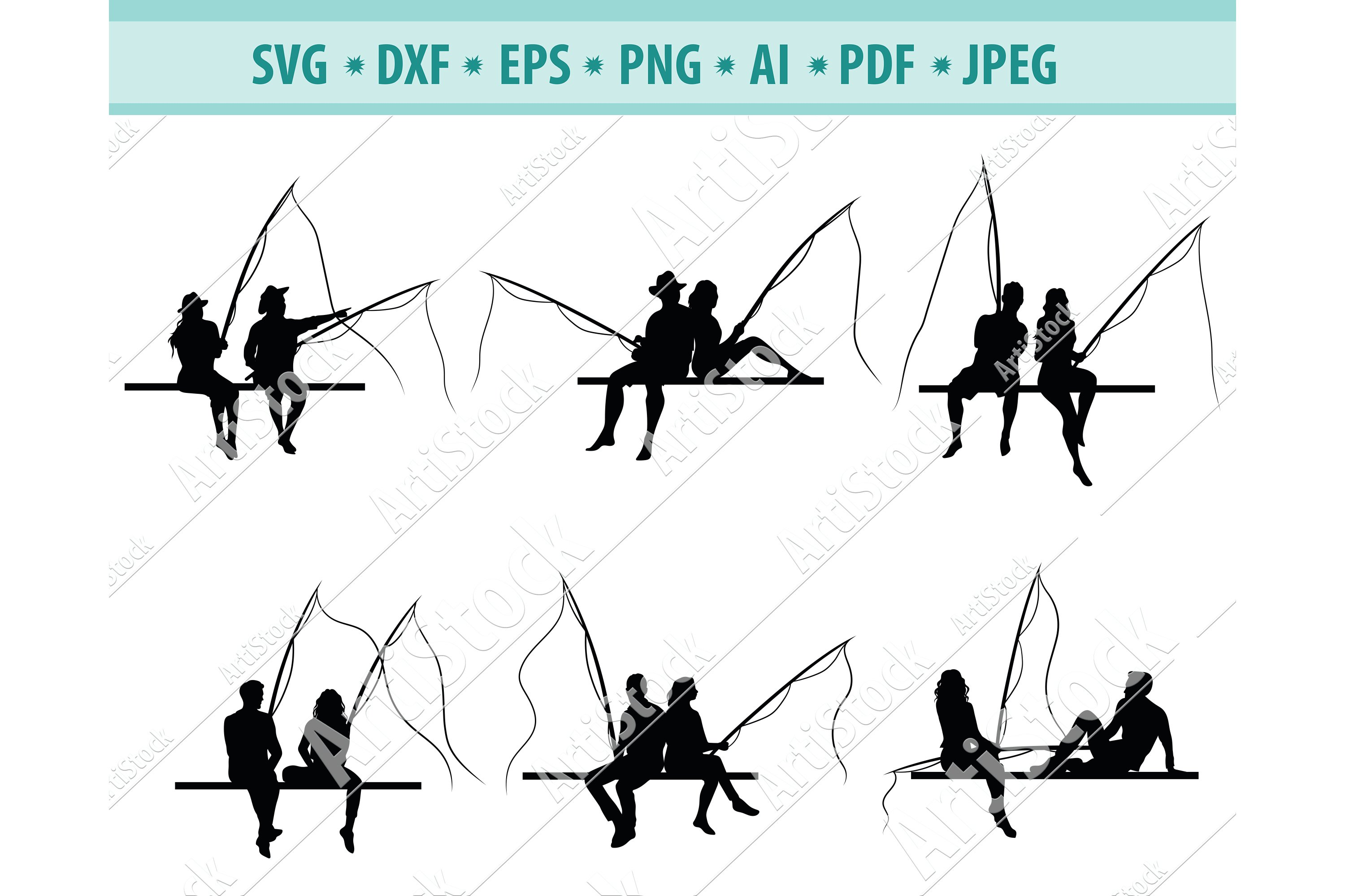 Download Couple Fishing Svg Fishing Svg Love Vacation Eps Dxf Png 977060 Cut Files Design Bundles