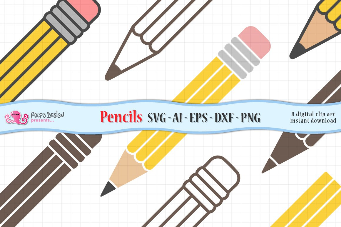 Pencil SVG, Eps, Dxf, Ai and Png example image 1