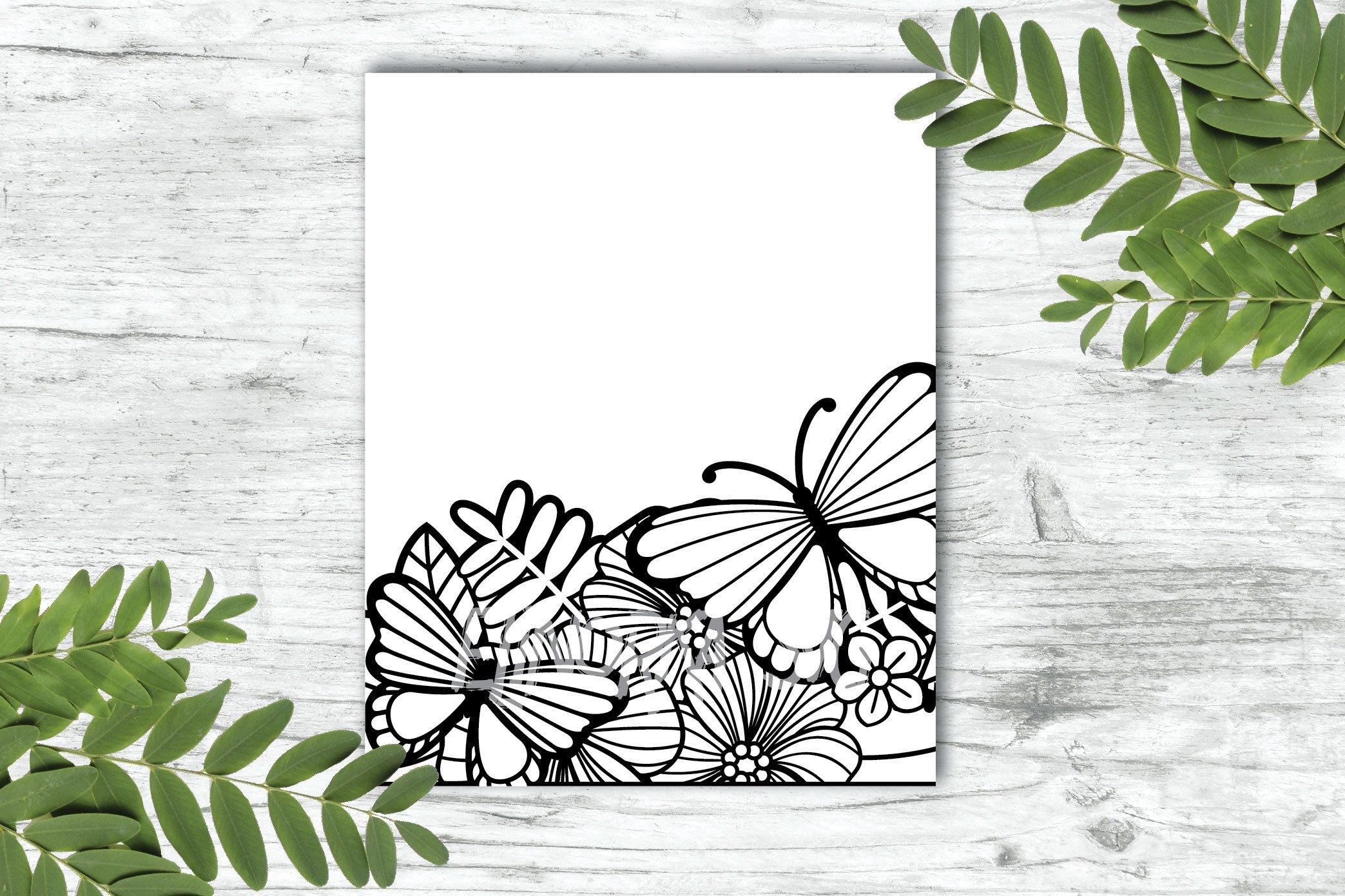 Split Monogram SVG | Floral SVG | Butterfly SVG | Summer SVG example image 4