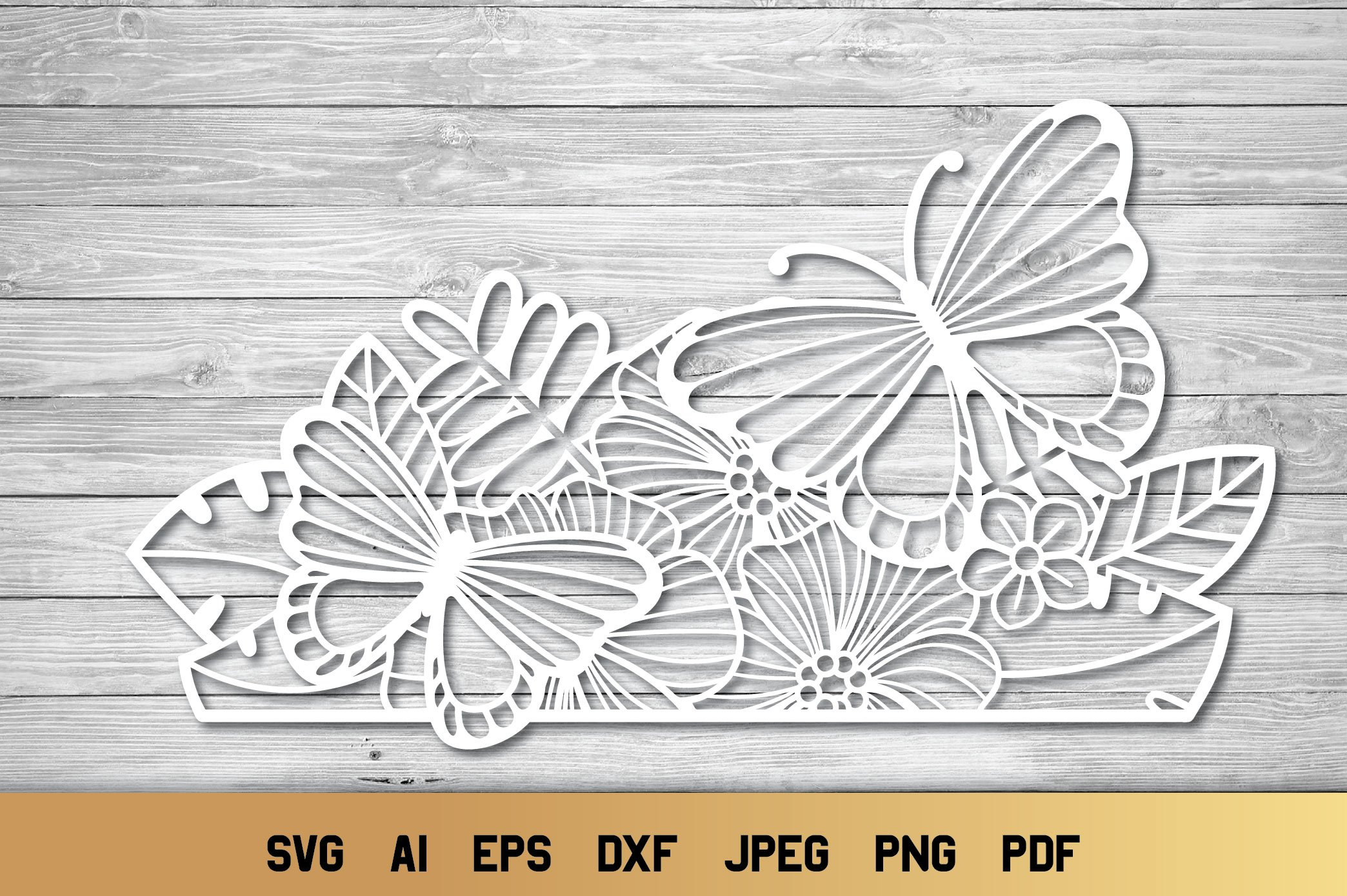 Split Monogram SVG | Floral SVG | Butterfly SVG | Summer SVG example image 3