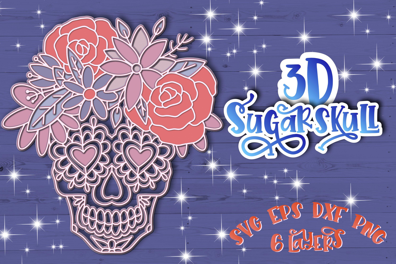 3D Sugar Skull svg Papercut svg Mandala 3d example image 1