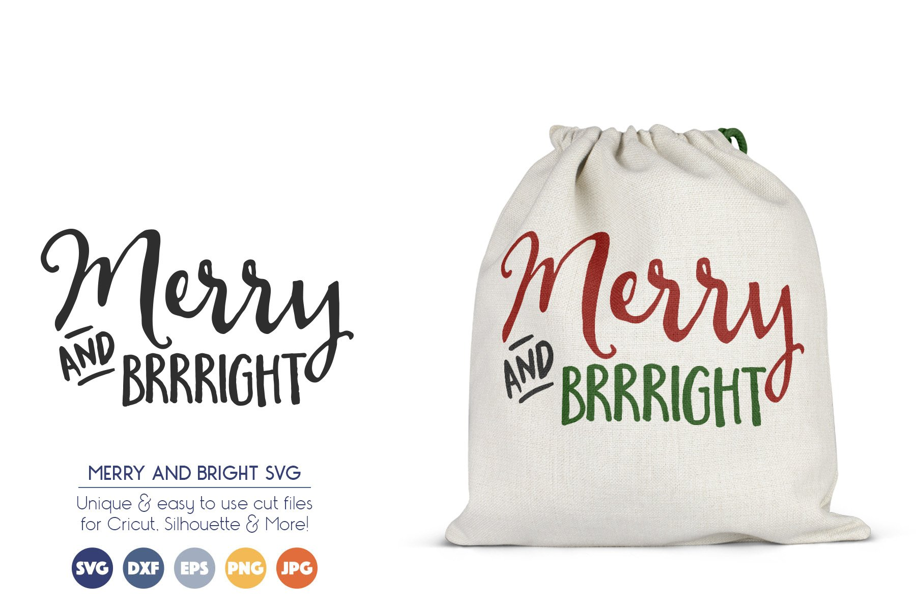 Merry and Bright - Cute Christmas SVG Files example image 1