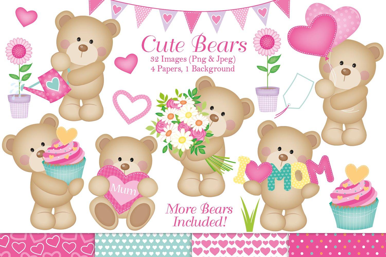 Cute bear clipart, Cute bear graphics & Illustrations, Mom