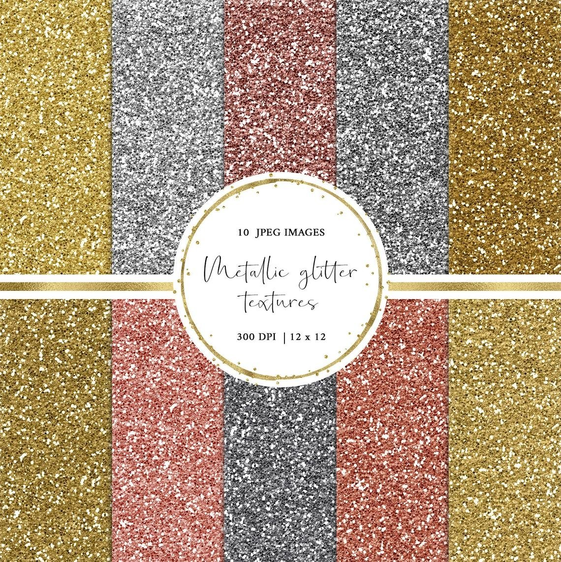 Metallic Glitter Digital Paper in Gold, Silver and Rose Gold example image 2