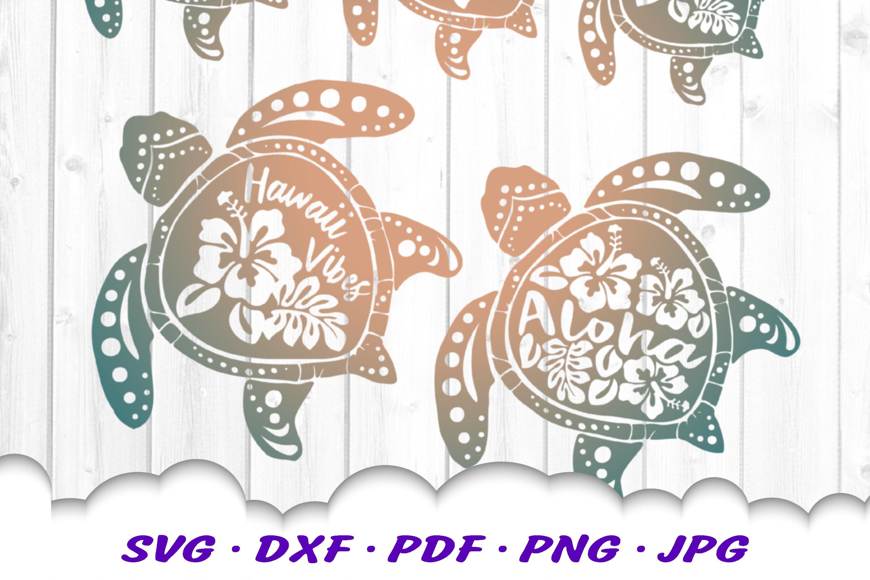 Hawaii Hibiscus Sea Turtle SVG DXF Cut Files Bundle example image 6