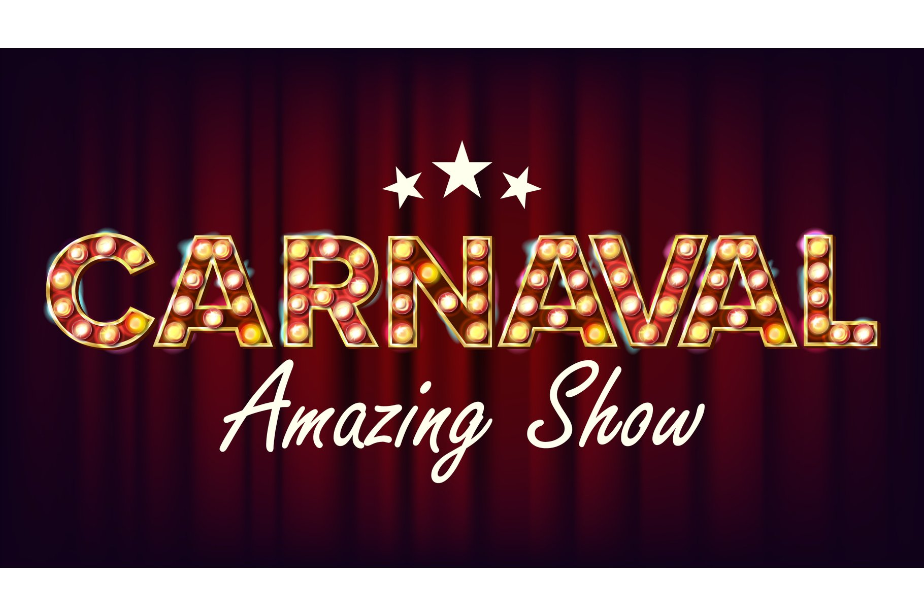 Carnaval Amazing Show Banner Sign Vector. For Party example image 1