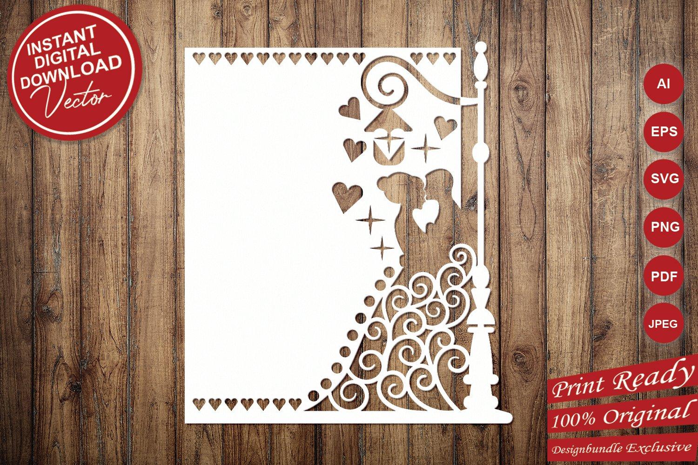 Papercut Wedding Couple, Hearts, Spirals, Street Light example image 5