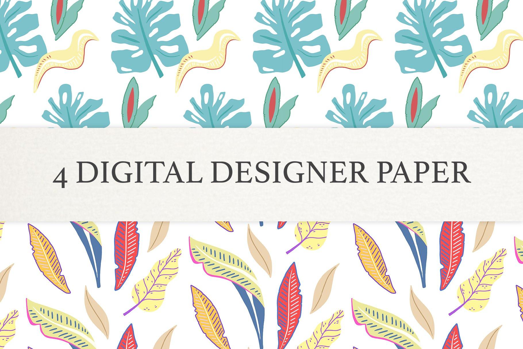 Floral leaf Digital Papers, Scrapbook Paper Set, Seamless example image 3