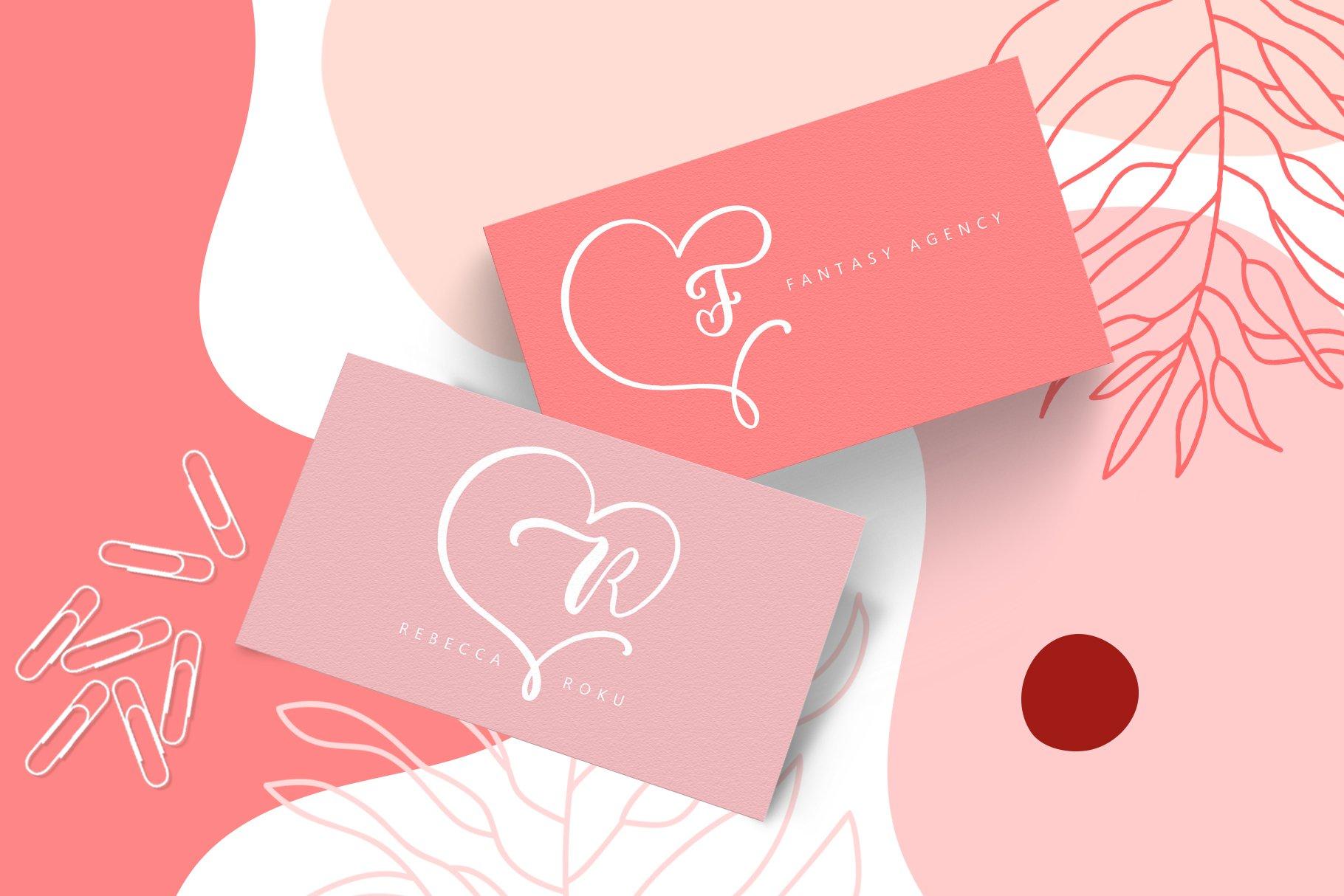 Monogram Heart Flourish Font example image 6
