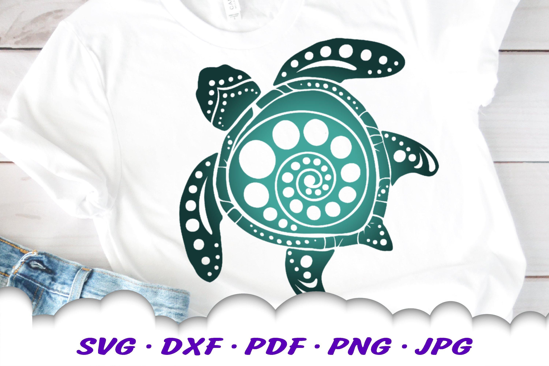 Spiral Circle Round Mandala Sea Turtle SVG DXF Cut Files example image 1