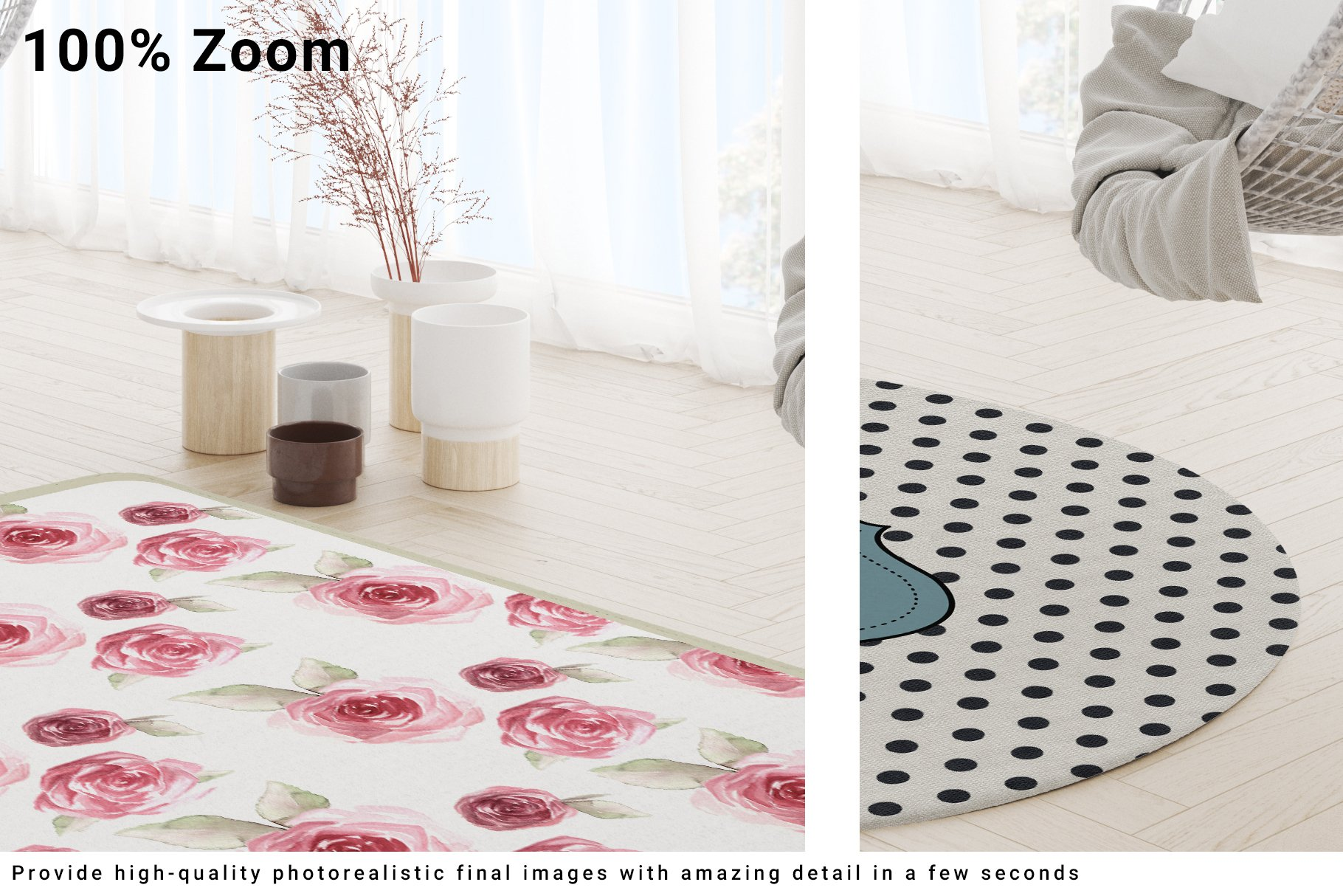 3 Types of Carpets in Living Room Mockup Set example image 10