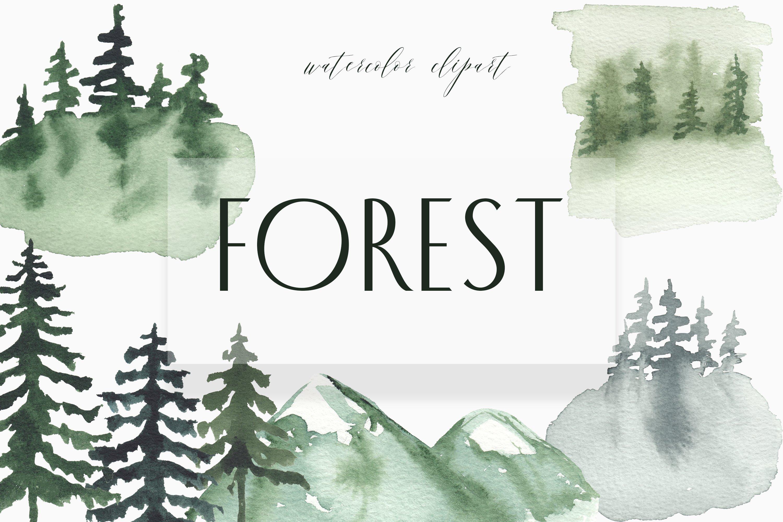 Landscape Clipart Watercolor Forest Tree Woodland Digital 1139714 Illustrations Design Bundles
