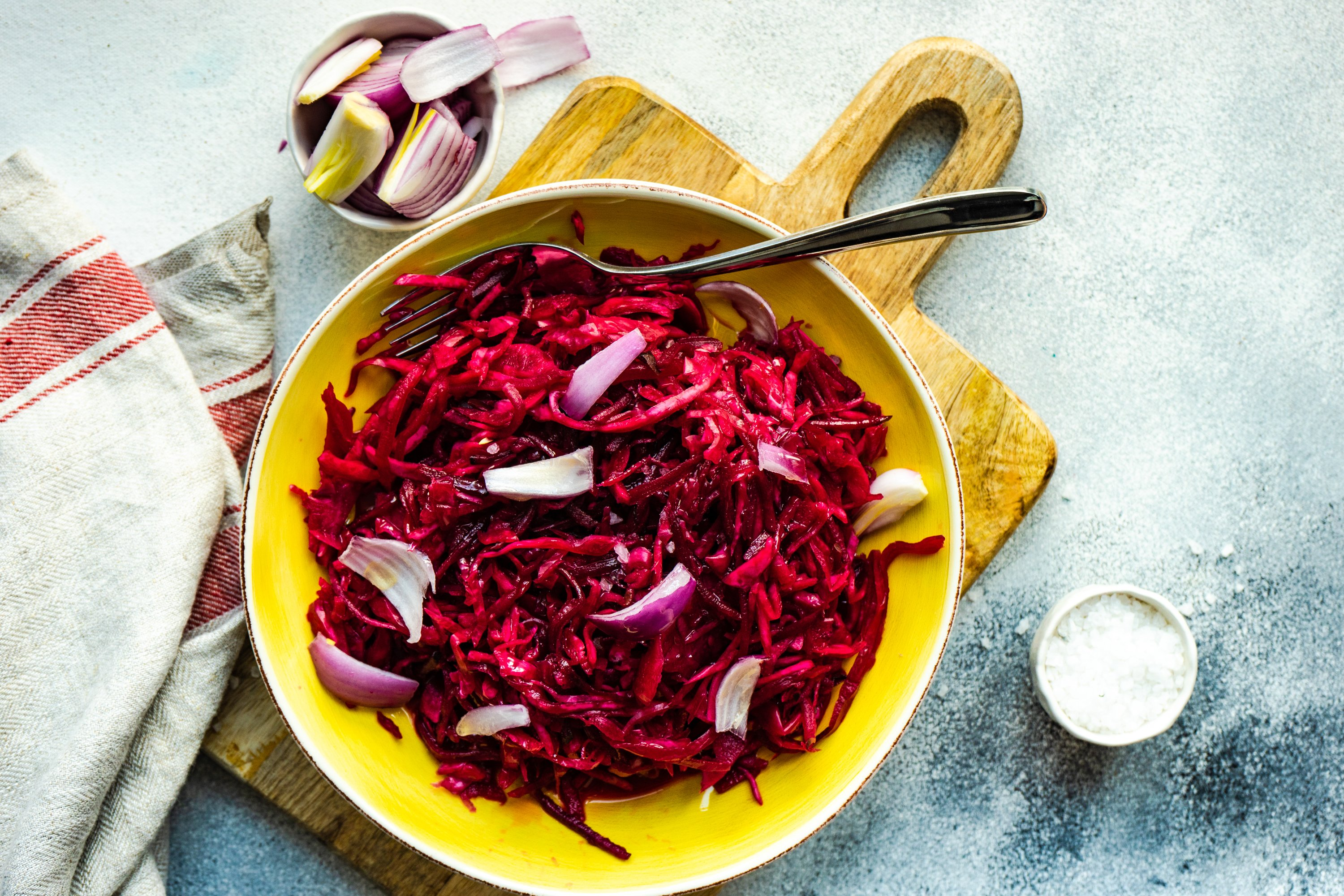 Homemade fermented food with cabbage and beetroot salad example image 1