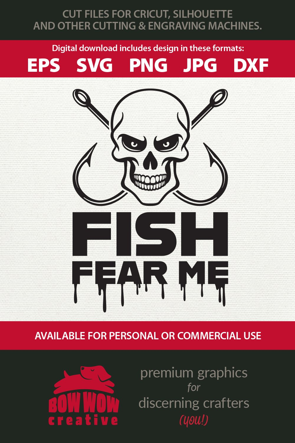 Fish Fear Me - Funny Fishing Quote Cutting File & Clipart example image 2
