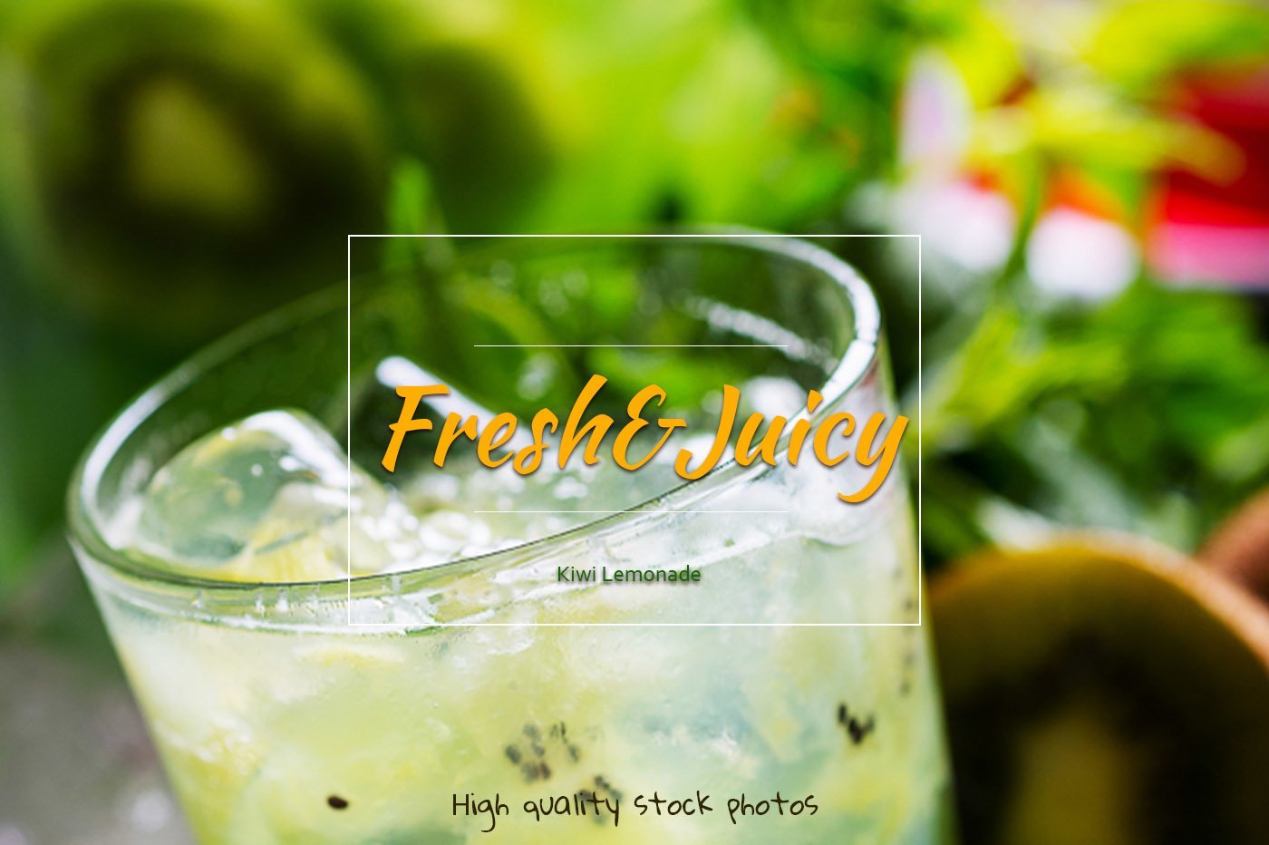 Kiwi lemonade. Fresh tropical drinks with ice and mint. example image 1