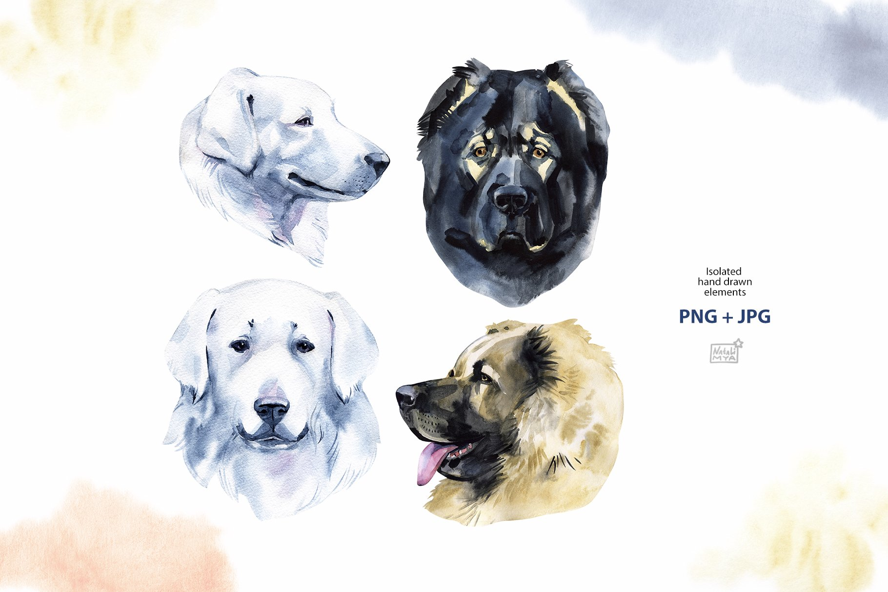 Watercolor herding dogs example image 6