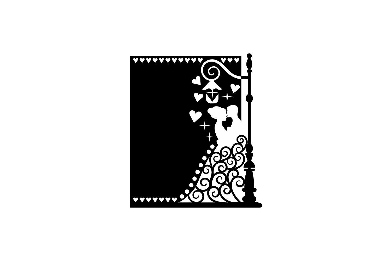 Papercut Wedding Couple, Hearts, Spirals, Street Light example image 2