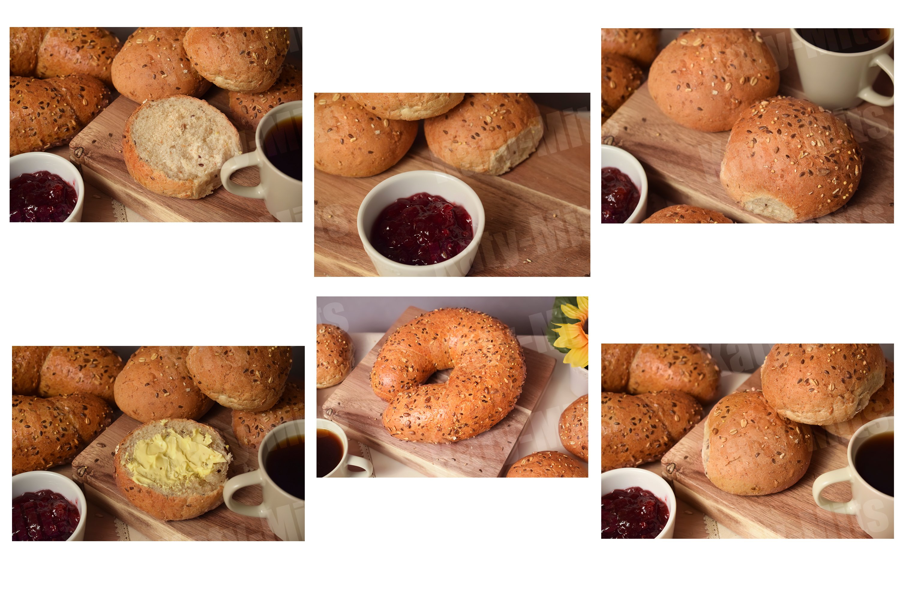 Set of 6 photos of breakfast buns example image 1
