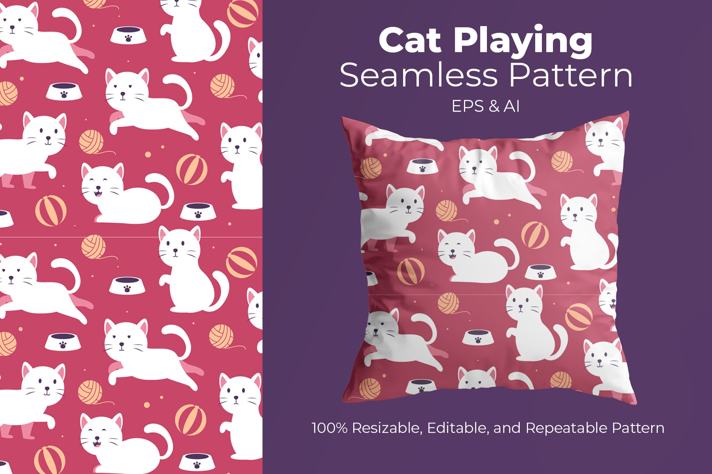 Cat Playing - Seamless Pattern example image 1