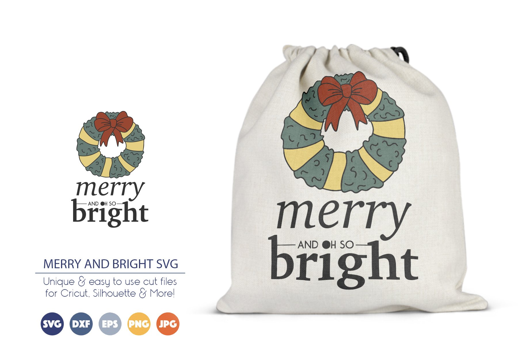 Merry and Bright SVG | Christmas Wreath SVG example image 1