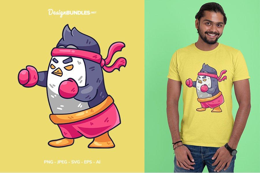 Fighter Penguin Vector Illustration For T-Shirt Design example image 1