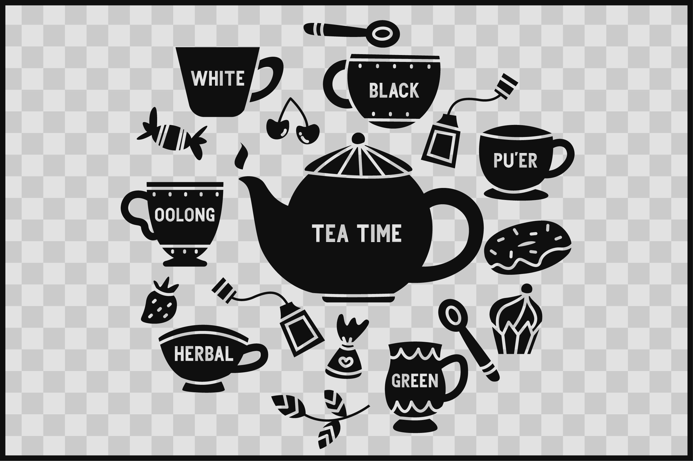 Download Tea Time 18 Tea Time Vector Elements Svg Cut Files 1120289 Cut Files Design Bundles