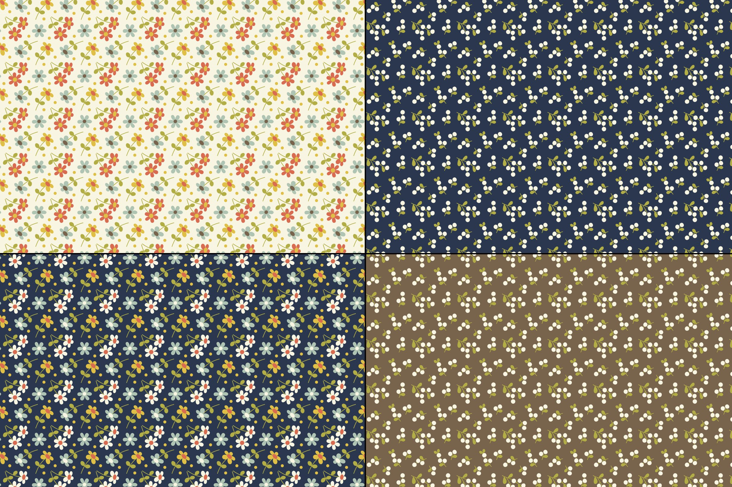 Seamless Retro Floral & Geometric Patterns example image 5