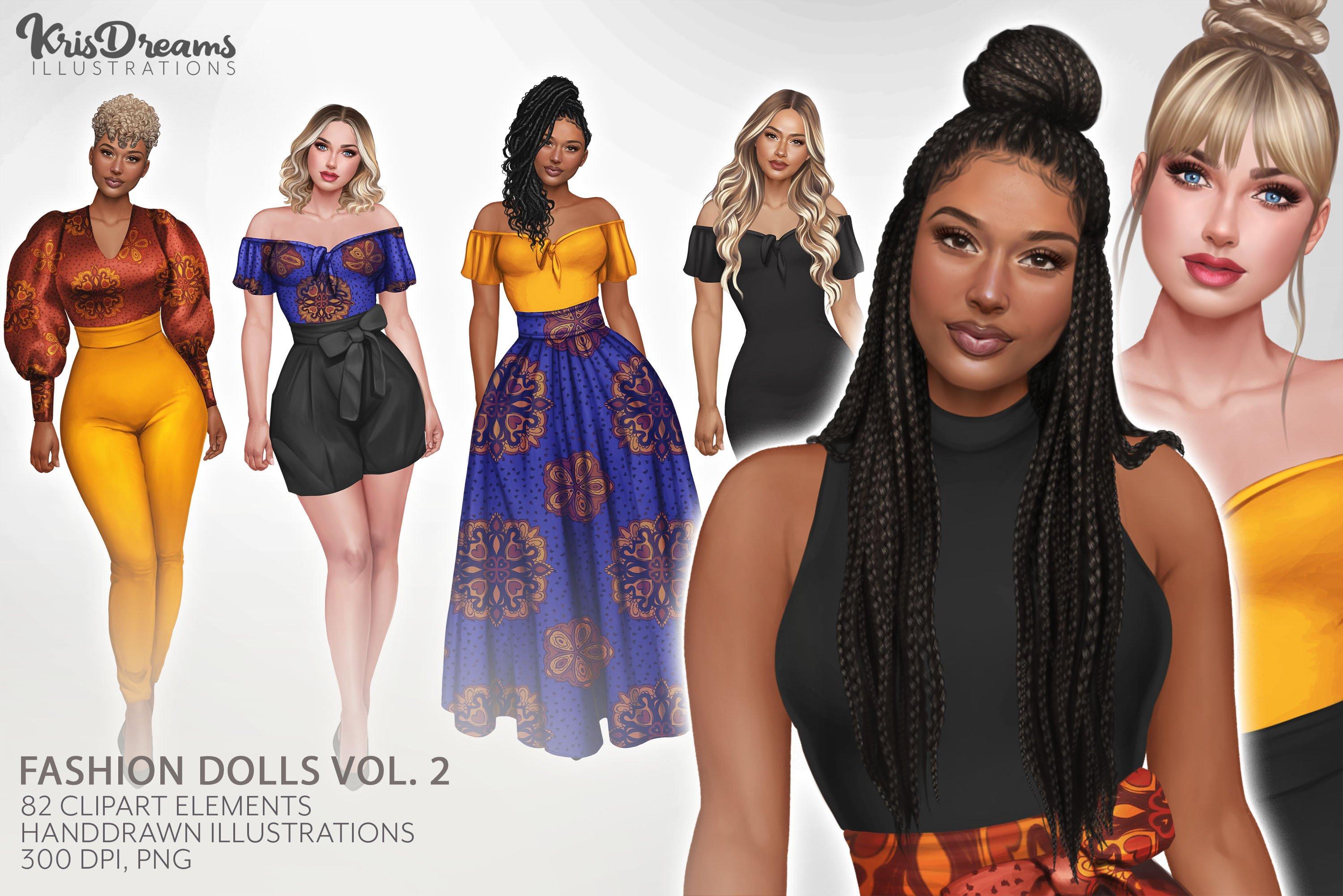 Black Women Ankara Clipart Fashion Girls Curvy Natural Hair Black Girl Clipart Cute PNG African American Clipart Ankara Fashion Dress