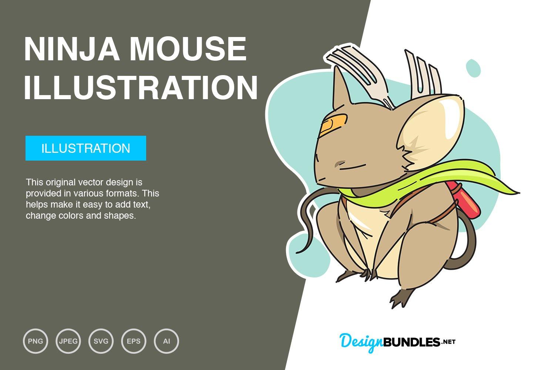 Ninja Mouse Vector Illustration example image 1