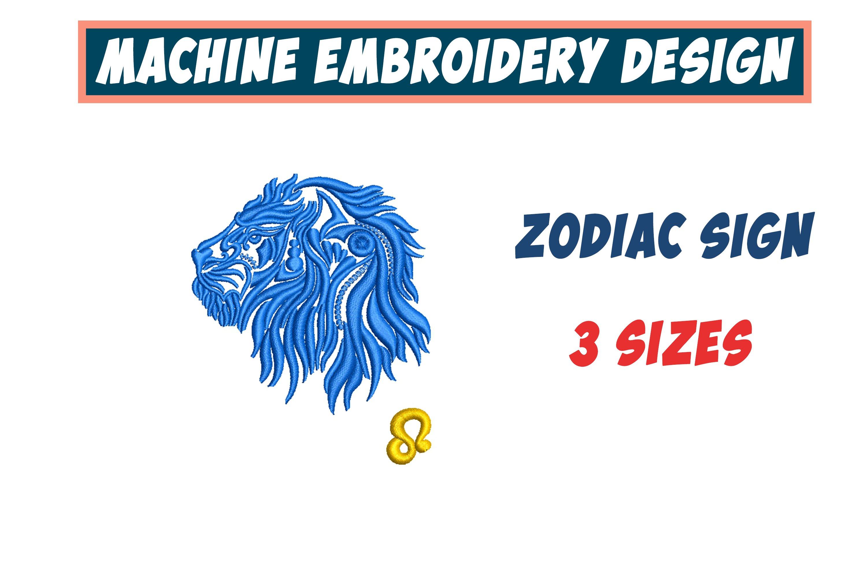 Leo Zodiac Sign - machine embroidery design, satin stitch example image 1