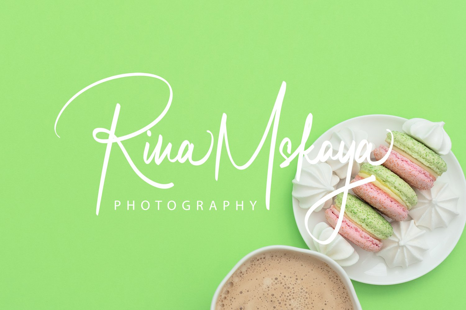 The cup of cappuccino and delicious macarons example image 1
