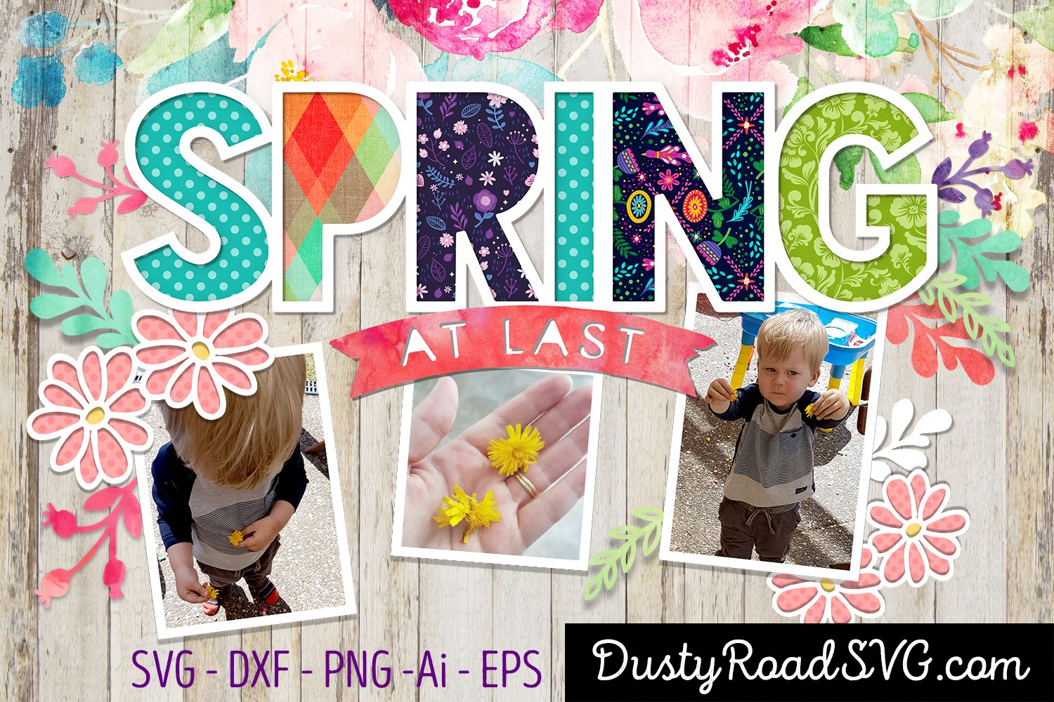 SPRING AT LAST - Scrapbook - cut file - svg png eps dxf example image 1