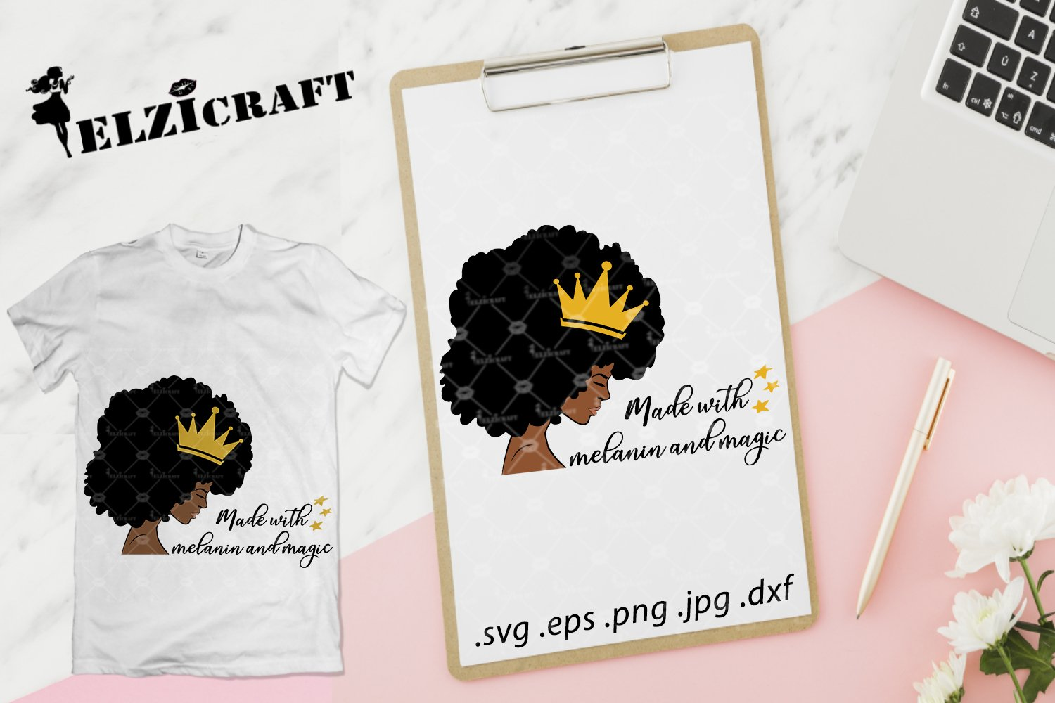 Afro Woman Melanin Poppin Made With Melanin And Magic Svg 320187 Svgs Design Bundles