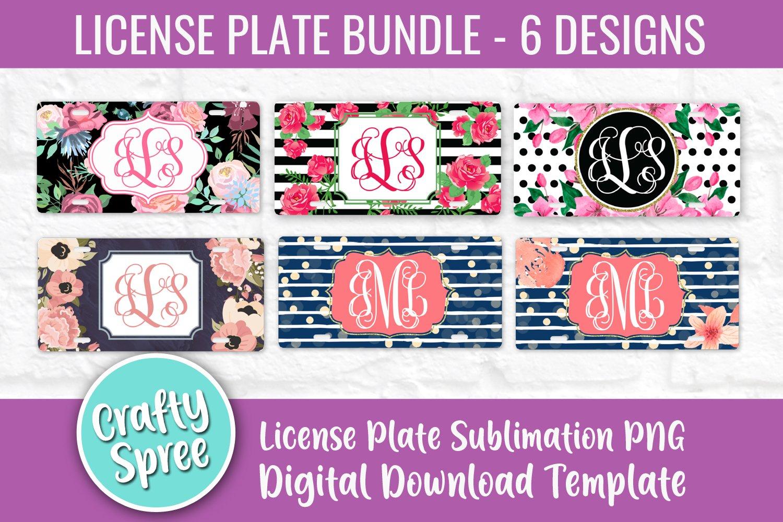 License Plate Sublimation Template Bundle Png Floral 277617 Sublimation Design Bundles