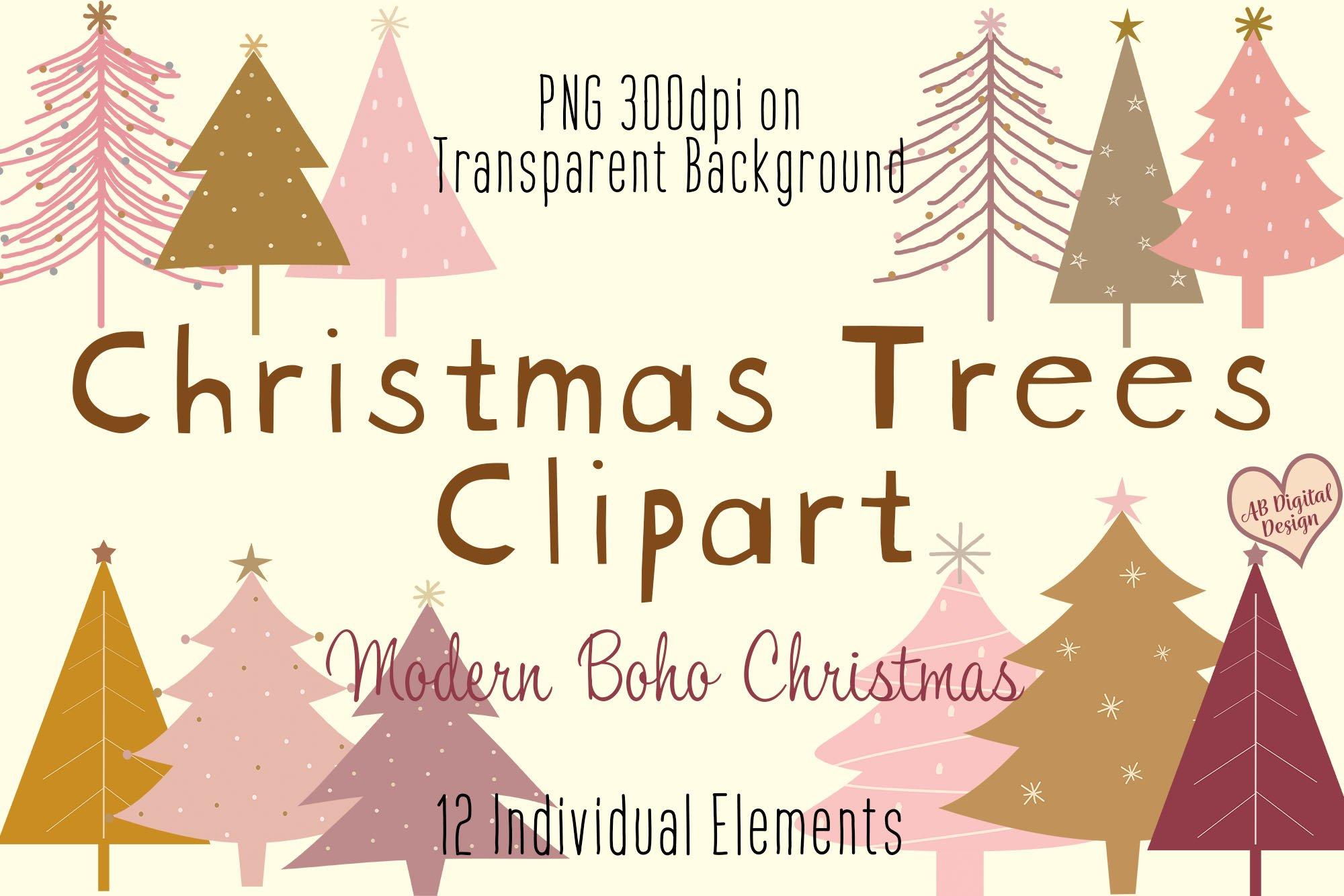 Christmas Tree Clipart Pink Gold Modern Boho Christmas 1037543 Illustrations Design Bundles