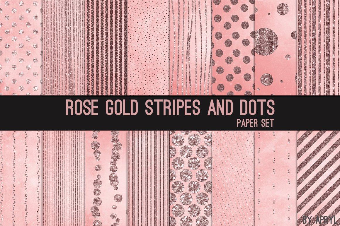 Rose Gold Stripes And Dots Digital Paper Background 86552 Backgrounds Design Bundles