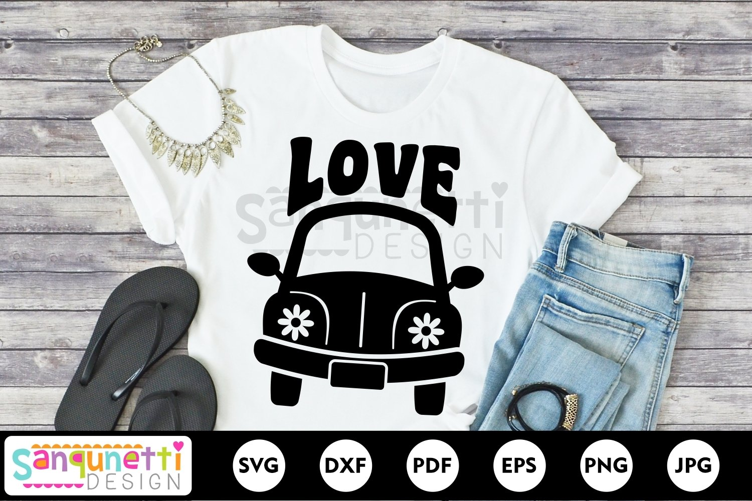 Hippie car svg, peace and love svg example image 1