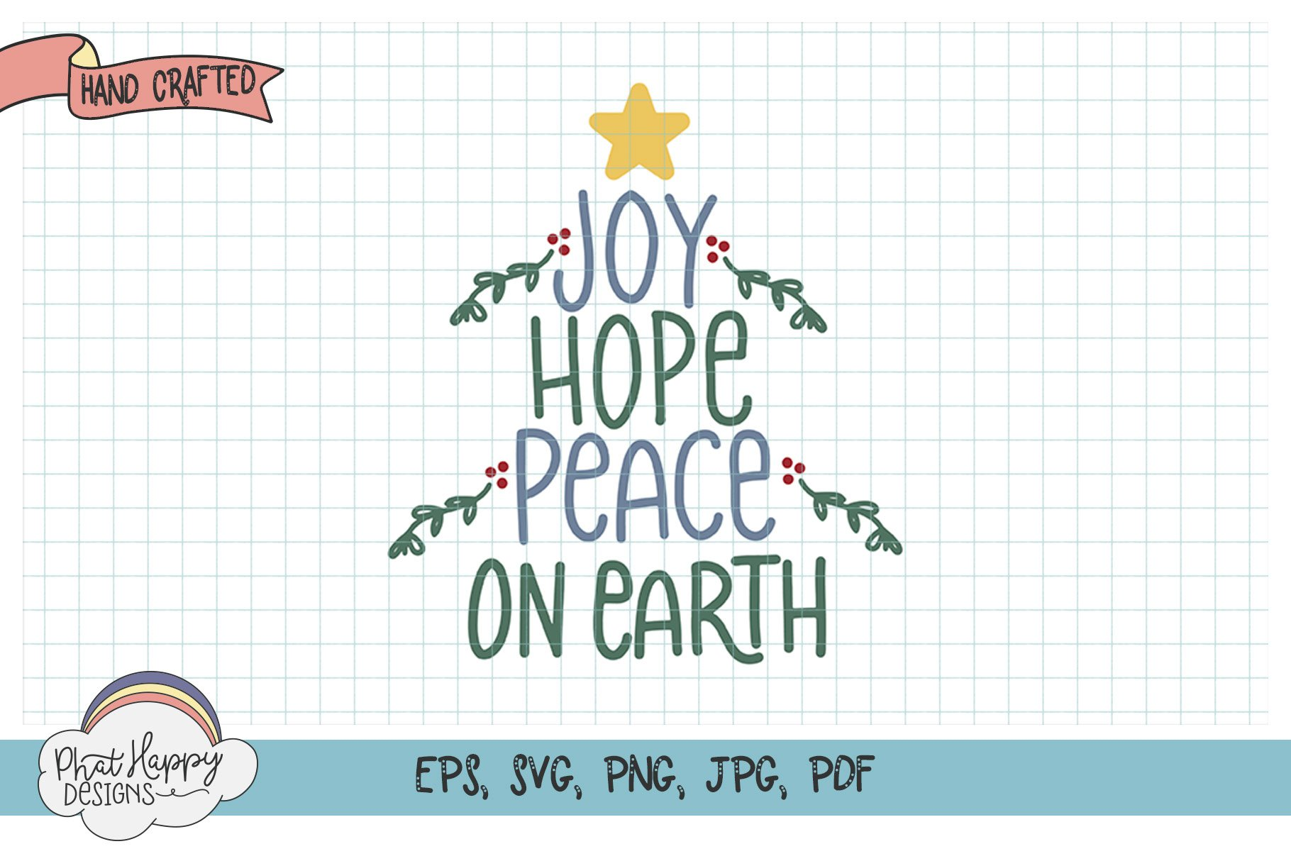 Peace on Earth - Hand Lettered Christmas SVG example image 1
