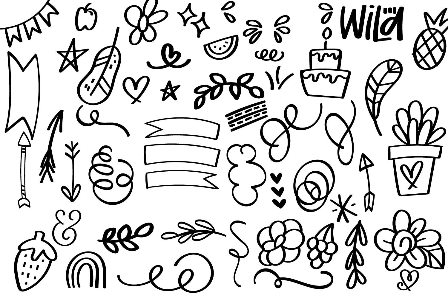 Silly Bits - A Hand Drawn Doodle Font example image 2