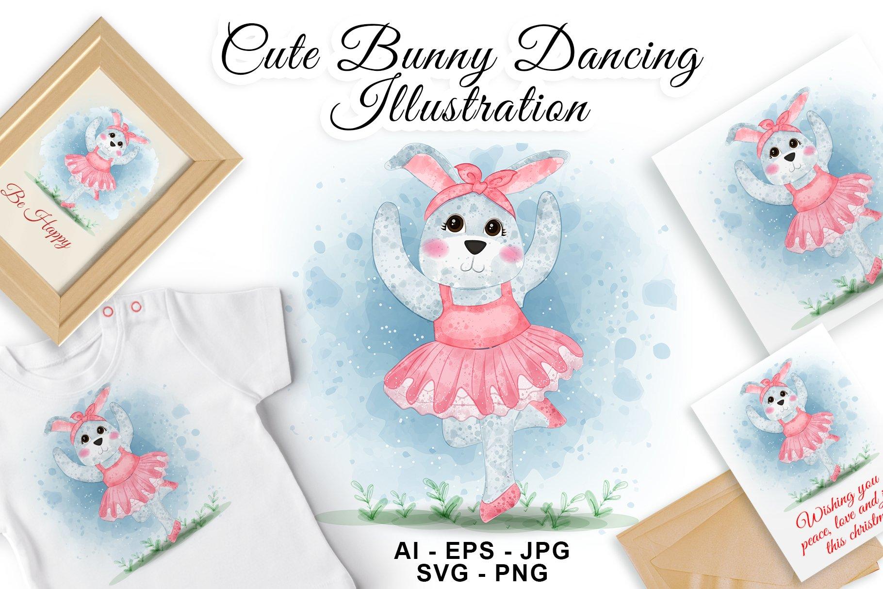 Cute Bunny Dancing Ballerina Watercolor Illustration example image 1